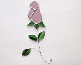 Stained Glass Lavender  Rose Suncatcher