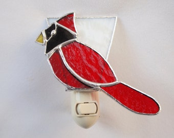 Stained Glass Cardinal Night Light
