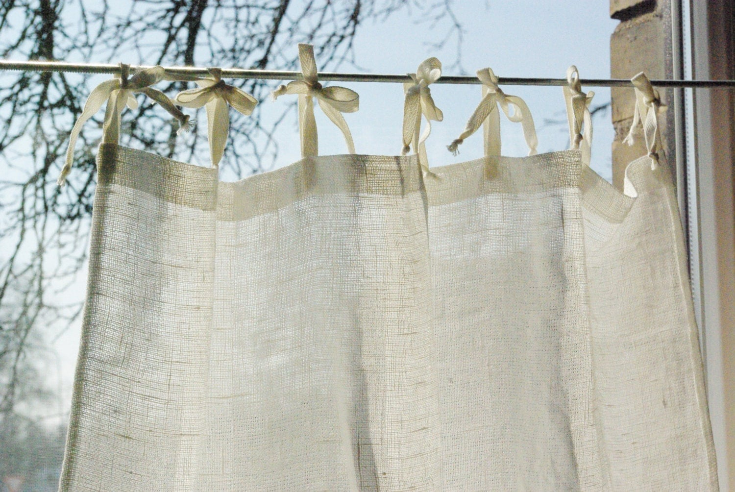 Cafe curtains for bathroom - Tie Top Curtain Panel Natural White Rustic Linen French Style Kitchen Cafe Curtains Bathroom Window Curtains