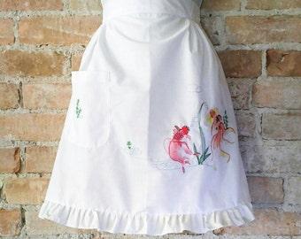 Vintage White Ruffled Apron with Koi Embroidery