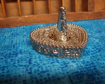Vintage Ring Holder - Silver Plated - Intricately Detailed Heart Shaped