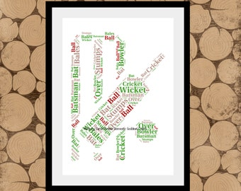 Cricket Themed Print, Cricket Print, Cricket Word Art, Cricket Word Collage, Cricket Word Cloud, Cricket Gift, Fathers Day Gift