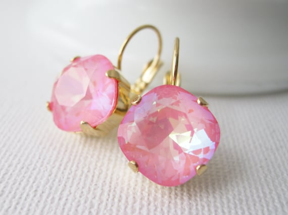 Coral Pink Rhinestone Drop Earrings Pink and Gold Bridesmaid Earrings Spring Wedding Jewelry Vintage Style Swarovski CRYSTALLIZED Elements