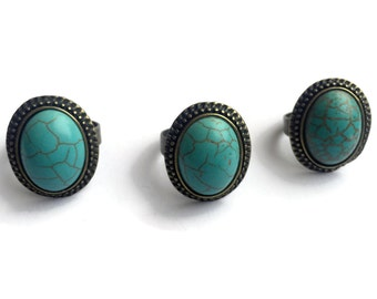 Vintage Gold Turquoise Cameo Ring