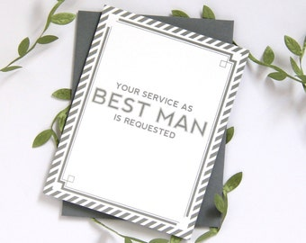 Will You Be My Best Man Card | bridal party card wedding party card | Grey, Navy or Black