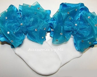 Glitzy Turquoise Blue Socks, Sparkly Organza Ruffle Bows Socks, Girls Baby Toddler Accessories, Pageant Sock, Wedding, Princess 1st Birthday