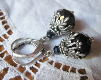 Art Nouveau Victorian Style Black Jet Faceted Large Glass Bead Filigree Antique Silver Dangle Earrings Lever Back