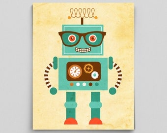 Cute Robot Poster Tesla Science Robot Poster Boy Nursery Ideas Robotic Engineering Science Nursery Room Ideas Cute Boy's Room Robot Print