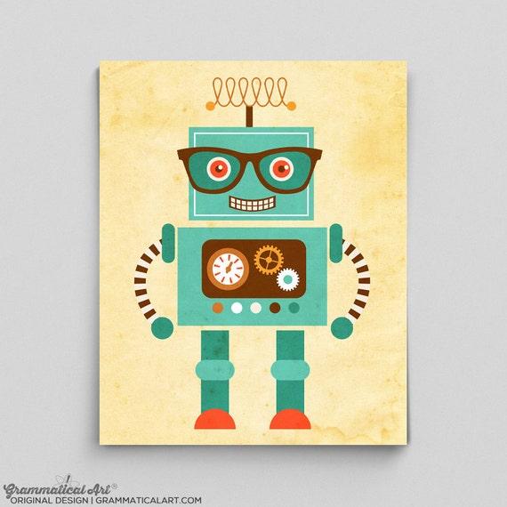 impression de robot de robot tout mignon affiche tesla science robot affiche garon chambre d - Affiche Garcon Robot