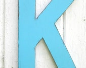 Wooden letters K 12 inch wall art Bimini Blue Shabby chic