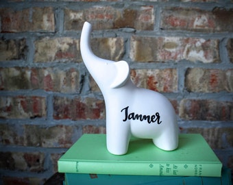 Personalized Hand lettered Elephant Statue, child for a child, baby gift, unique gift