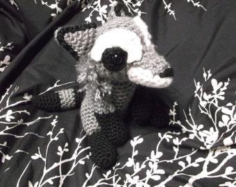 Raccoon plushie, crochet raccoon, sitting raccoon, raccoon amigurumi toy, ready to ship