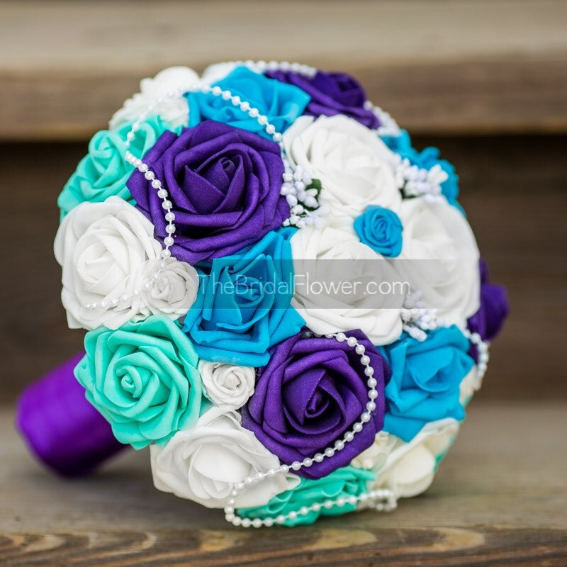 Wedding Bouquet Purple And Turquoise Bridal By TheBridalFlower