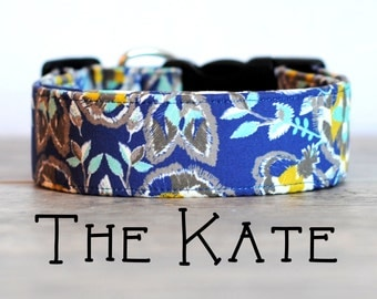 """Sophisticated Navy Grey & Mustard Vintage Inspired Dog Collar """"The Kate"""""""