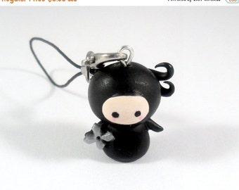 ON SALE Kawaii Ninja Chibi Charm with Shuriken, Keychain, Dust Plug, or Cell Phone Strap, Cute :D