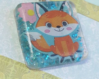 Fox Necklace, Square Pendant, Kawaii Fox Necklace, Kawaii Fox Necklace, Fox Jewelry, Resin Fox Pendant, Kawaii Fox, Fox Pendant, Fox Charm