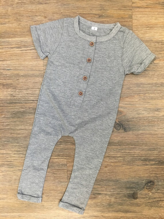 Grey Baby Romper with Buttons - Unisex