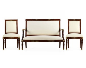 Exceptional French Empire Antique Salon Suite with Two Side Chairs and Settee Sofa, 19th Century, 609EBH25P