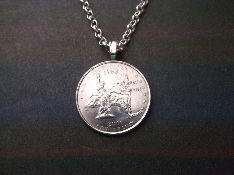 new york united states quarter coin necklace new york state. Black Bedroom Furniture Sets. Home Design Ideas