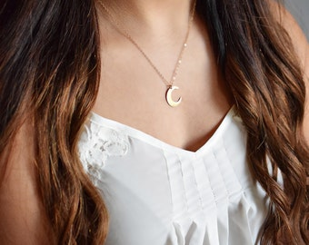 Crescent Moon Necklace, Gold Crescent Moon Necklace, Simple Moon Necklace,  Silver Moon, Simple Gold Necklace, Rose Gold, Moon Pendant