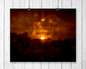 Sunset Photography Orange Wall Decor Rain Drops Nature Art Mountain Photo Rain Photography Office Decor Bokeh Water Drops Summer Storm Art
