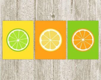 Kitchen Printable Lemon Lime Orange Slice Fruit Art Print Kitchen Wall Art Kitchen