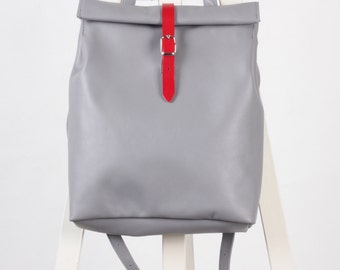 Light gray leather backpack rolltop rucksack / To order