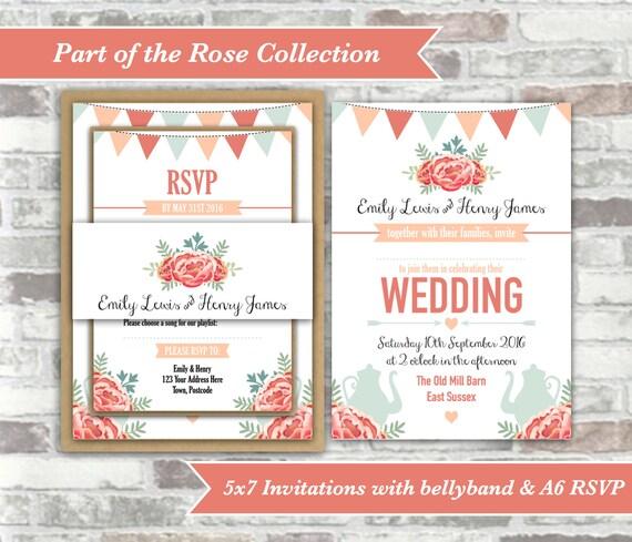 PRINTABLE Digital Files - Rose Collection - Personalised Afternoon Tea Wedding Invitation Bundle Print Your Own DIY - Peach Blue Vintage