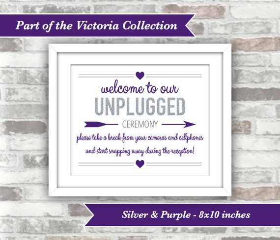 INSTANT DOWNLOAD - Victoria Collection - Wedding Unplugged Ceremony Sign - 8x10 Digital Files - Silver Glitter Effect and Purple