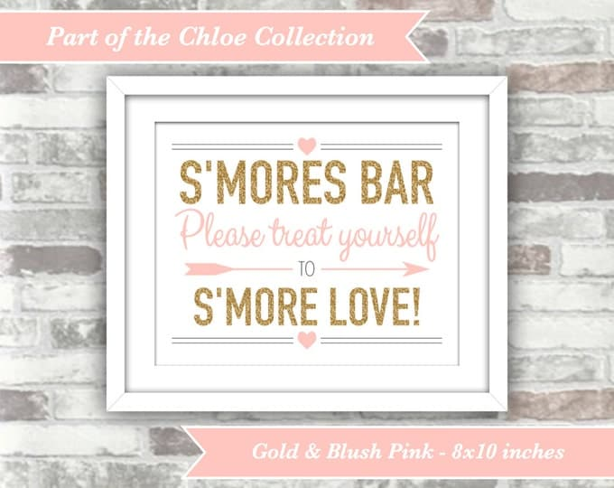 INSTANT DOWNLOAD - Chloe Collection - Printable Wedding S'mores Bar Sign - 8x10 Digital Files - Gold Glitter Effect and Blush Pink - Smores