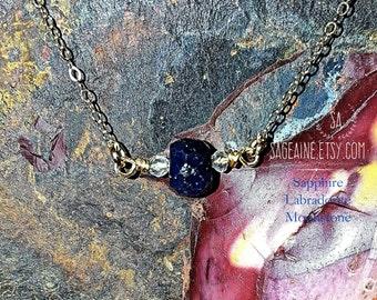 SageAine: Sapphire Labradorite Moonstone Gold Necklace, Auric Shield, Archangels Metatron & Zadkiel, September Birthstone, Reiki Charged