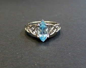 Blue Topaz Ring/ Genuine Blue Topaz 1.01 ct Sterling Silver Ring/  Blue Topaz Marquise Shape Engagement Ring