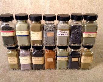 Curiosity, Lab, Prop, Rock, Mineral, Samplings in Specimen Jars. Mining Test Samples - Unique and Unusual Display
