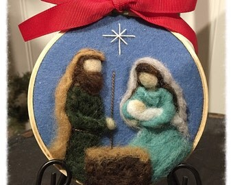 Nativity Ornament. Needle felted art