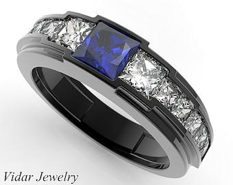 Black Gold Diamond Wedding Ring For A MenUnique Blue Sapphire RingBlack