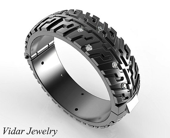 black gold wedding band tire tread diamondsunique wedding bandmens wedding band - Mud Tire Wedding Rings
