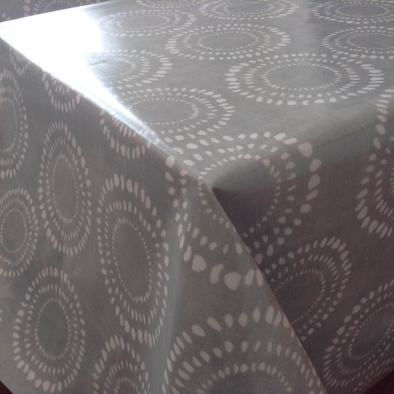 new 0 5 yard oilcloth laminated waterproof cotton tablecloth 52 grey circles from. Black Bedroom Furniture Sets. Home Design Ideas