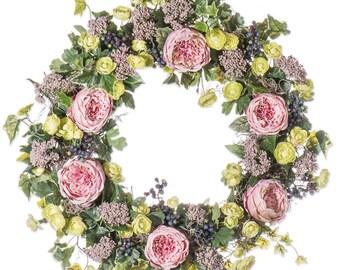 Pink Cabbage Rose & Ranunculus Wreath (SW906)