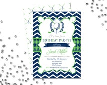 Golf Themed Birthday Par-Tee Invitation - Chevron Stripes - Blue and Green - BACKSIDE INCLUDED - Printable