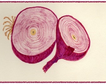 NEW! RED ONION note card.  Colorful and hand drawn