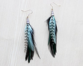 Mint and Black Feather Earrings