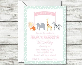 Zoo Birthday Party, Two at the Zoo, Animals Birthday Party, Lion, Elephant, Giraffe, Zebra