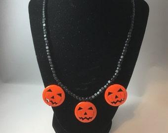 Pumpkin Necklace, Orange Pumpkin Necklace, Halloween Necklace