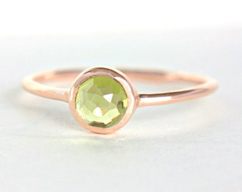Peridot Gold Ring 14k Rose Gold Rose Cut Peridot Gold Ring Made in Your Size Alternative Engagement Ring Peridot Engagement Ring