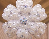 Flat Back Pearl and Rhinestone Button (55 mm) QS-121