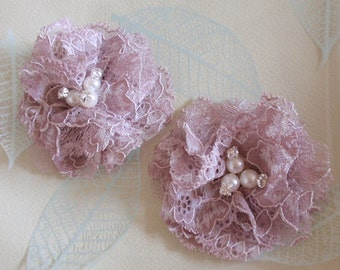 2 Lace Flowers With Rhinestone Pearl (2-3/4 inches) In Rose mauve MY-424-09 Ready To Ship