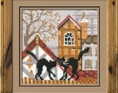 """Cross Stitch KIT 613 """"City and Cats Autumn"""" - by RIOLIS (Counted cross stitching, Sewing & Needlecraft, Embroidery pattern)"""