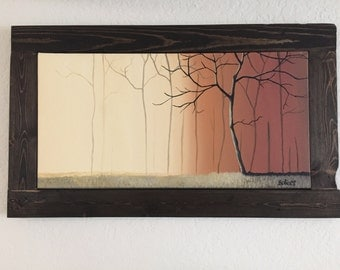 Sunlight Upon The Trees: Acrylic painting in handmade stained wood frame