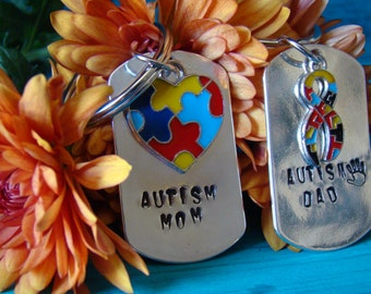 Autism Mom | Autism Dad Hand Stamped Awareness Keychains | His And Hers | Autism Awareness | Key Chain Gifts | Autism Ribbon Charm | Gift