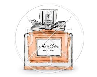 A0093_peach - Miss Dior Perfume Bottle, Orange, Fashion Art - Digital Print, Instant Download. Printable Illustration. PNG/JPG files 8x10''.